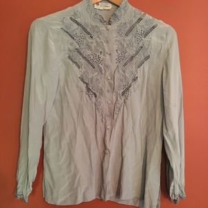 Vintage silk embroidered button up blouse small